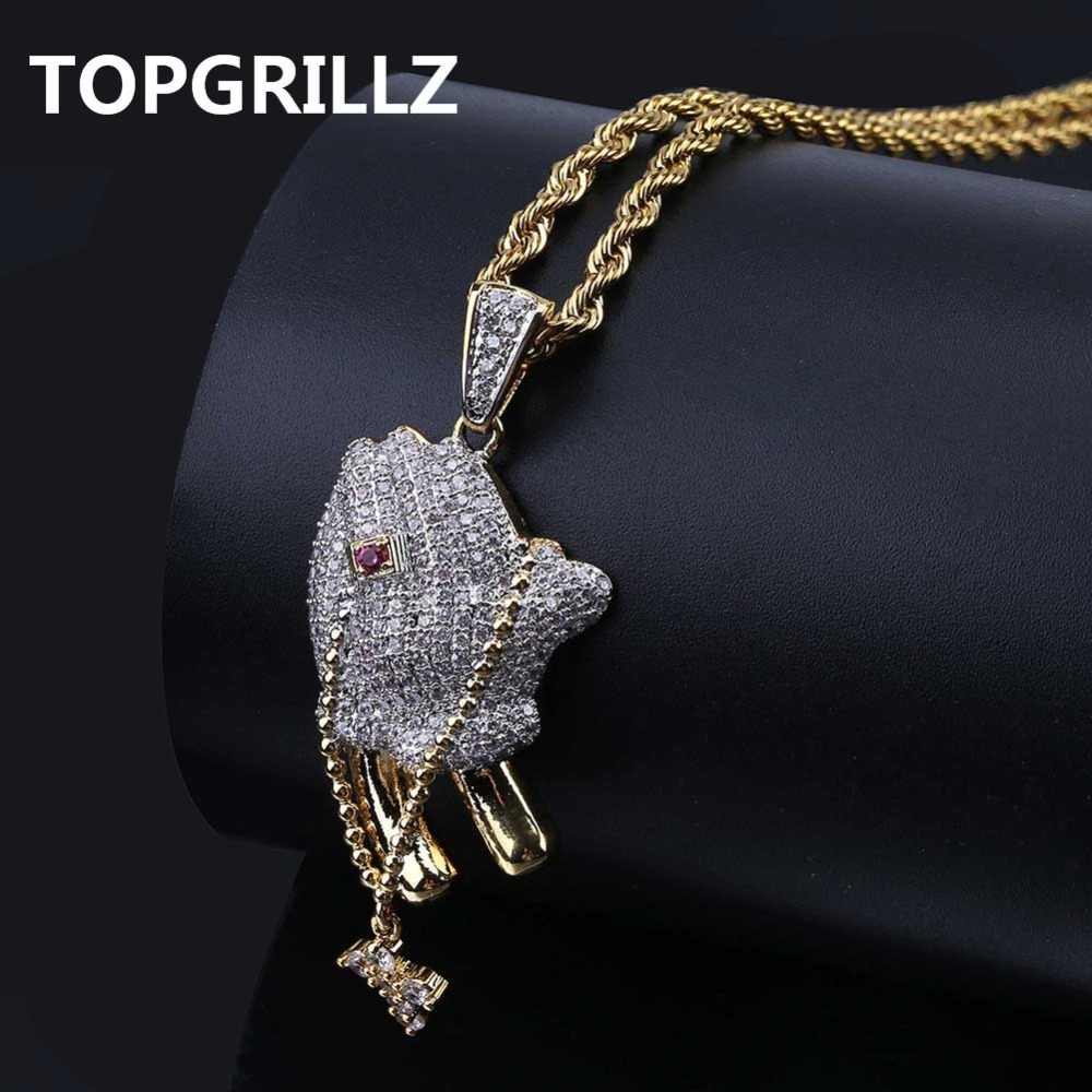 TOPGRILLZ Hip Hop Brass Gold Color Iced Out Micro Pave CZ Praying Hands Cross Pendant Necklace Charm For Men Women Gifts Jewelry