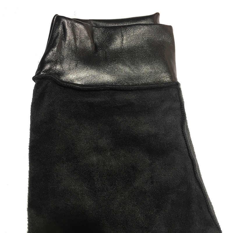 Kaminsky Hoge Elastische Taille Zwarte Leggings Niet Crack Slim Warm Winter Leggings Fleece Broek vrouwen Mode PU Lederen Broek