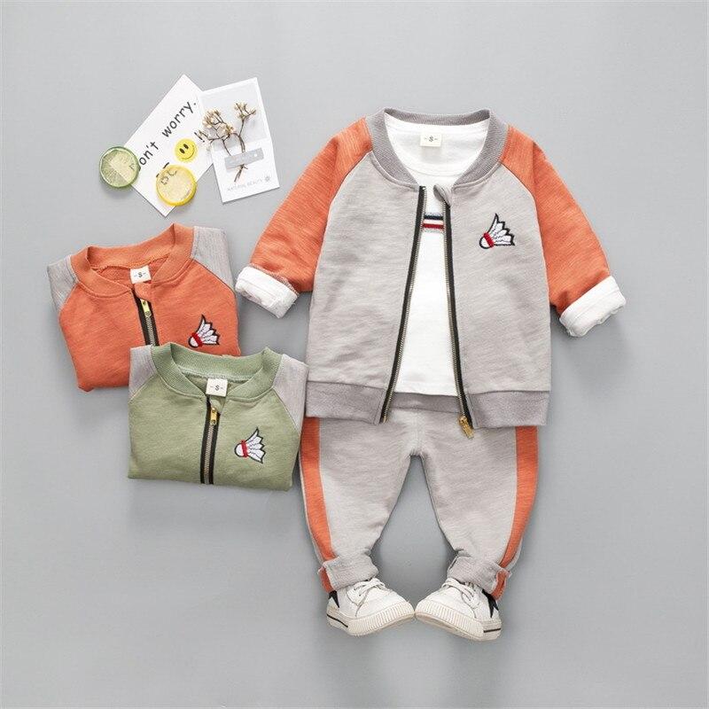 Baby Boy Girl 3PCS Patchwork Clothes Set Kids Badminton Embroidery Jacket +Sports Pants Suit Boy Casual Clothes Set 2pcs set baby clothes set boy
