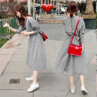 New Women Plaid Dress Casual Long Sleeve O Neck Cotton Plaid Midi Dress Spring Autumn Lady