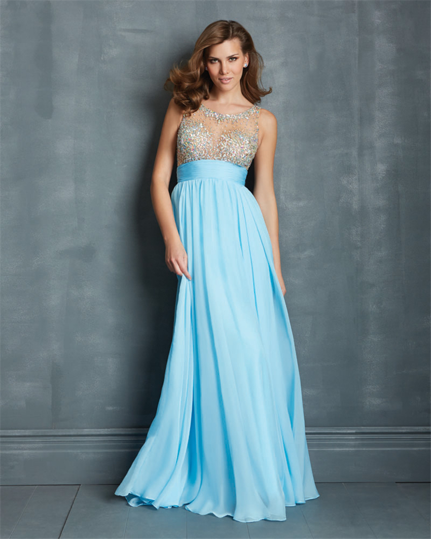 Prom dresses 2015 sexy elegant blue/white beaded crystal cheap a ...