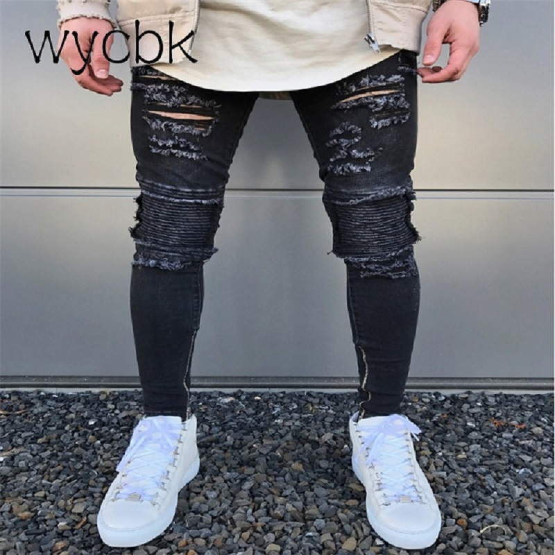 wycbk 2018 New Black Ripped Jeans Men With Holes Super Skinny Famous Designer Brand Slim Fit Destroyed Torn Jean Pants For Male