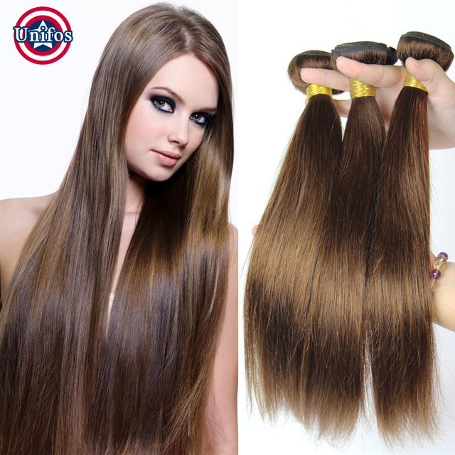 Brazilian Virgin Hair Straight 3 Bundles Light Chestnut Brown Human