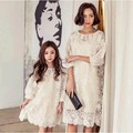 Spring/Autumn Mother Daughter Dresses Casual Lace  Mother and Girls Dresses Family Look Long Sleeve Dresses For Girls 2016 New