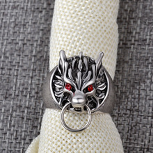 Final Fantasy Wolf Head Ring Silver Plated Red Cystal Eyes Vintage Men Jewelry 248 chic wolf head shape ring for men