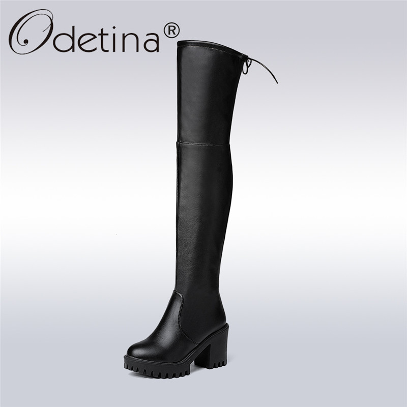 Odetina 2017 Fashion Women Faux Suede Platform Thigh High Boots Thick Sole Over The Knee Boots Block High Heel Sexy Winter Shoes peter block stewardship choosing service over self interest