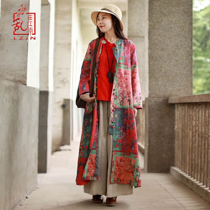 LZJN Long Trench Coat for Women 2019 Spring Autumn Chinese Overcoat Leaves Cotton Linen Duster Cardigan