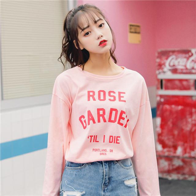 a1864f6a9ad Ulzzang Harajuku Kawaii Pink Green Long Sleeve T Shirt Tops Tumblr Women  Autumn 2018 Korean Style