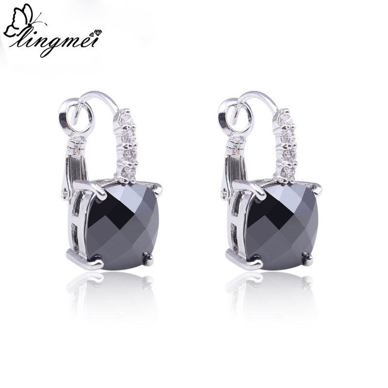 lingmei New Fashion Women Beautiful Oval Cut Earrings Wholesale Jewelry Sexy Black Silver Color Dangle Hook Lady Party Gift