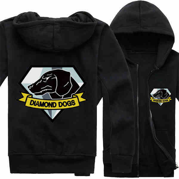 MGS 5 Metal Gear Solid V The Phantom Pain Diamond Dogs Logo Hoodies Printed  Pattern Zip Up Coats Sweatshirts 8c60bd8b2
