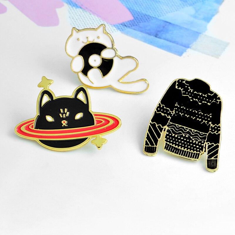 Мисс zoe свитер CD кошка котенок кошка планеты звездами темно-черный брошь джинсовая куртка Булавки пряжки рубашка Знак подарок для друзья
