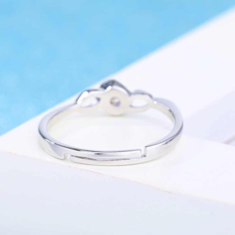 יוקרה AAA מעוקב Zirconia טבעת נשים 925 כסף סטרלינג תכשיטים גיאומטרי לב בצורת חתונה טבעת