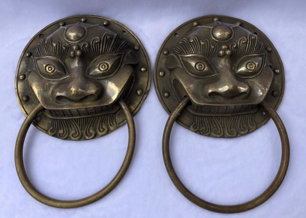 Exquisite pure copper bronze antique crafts tiger head brass door knocker / pair (large)