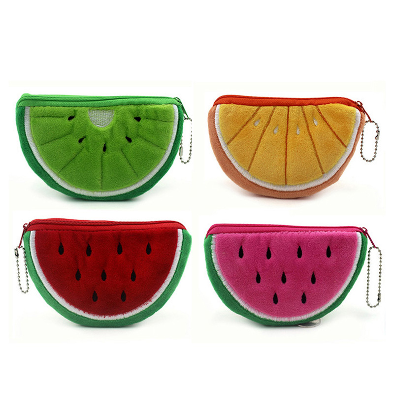 BLEVOLO 4 Pcs/Lot Fruit Series Wallets Women Coin Purse Oranges Watermelon Zipper Plush Coin Storage Wallet Bags For Girl Gift love for three oranges vocal score