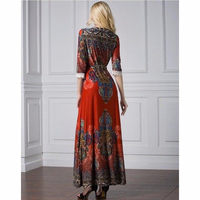 Islamic Abaya Dress Muslim Women Dress Long Sleeve Abaya Clothing Robe Kaftan Bohemia Style Silk Lace Red 3