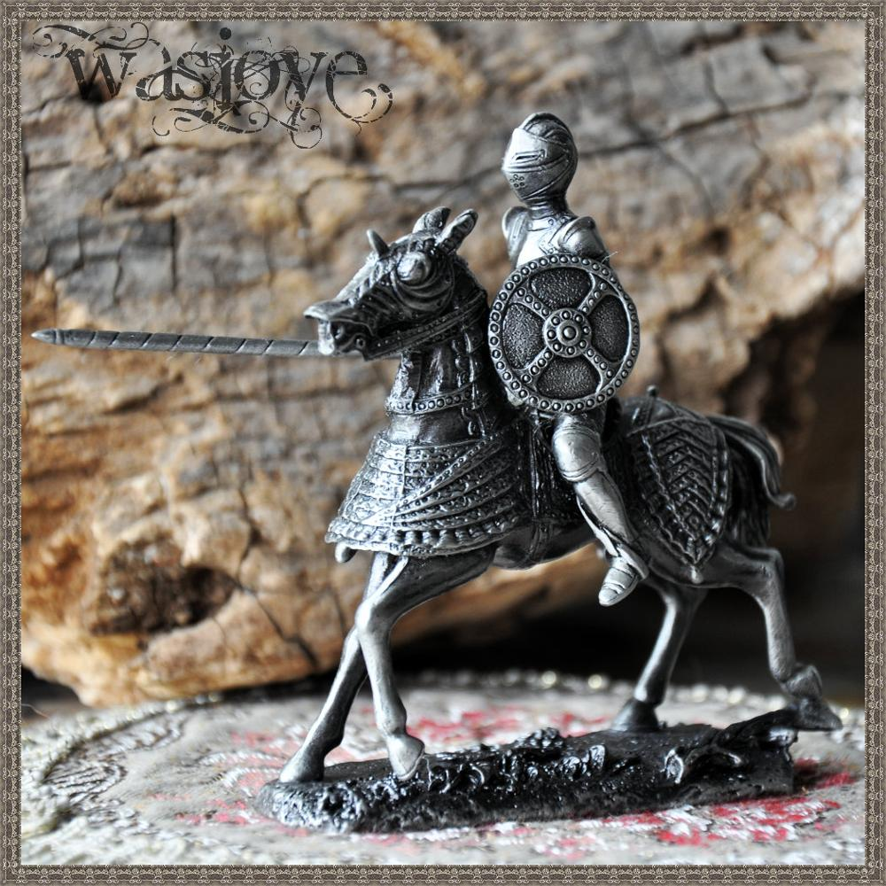 10cm Height Classical European Tin Warrior Soldier on Horseback Home Club Table Decoration Gift Ornaments