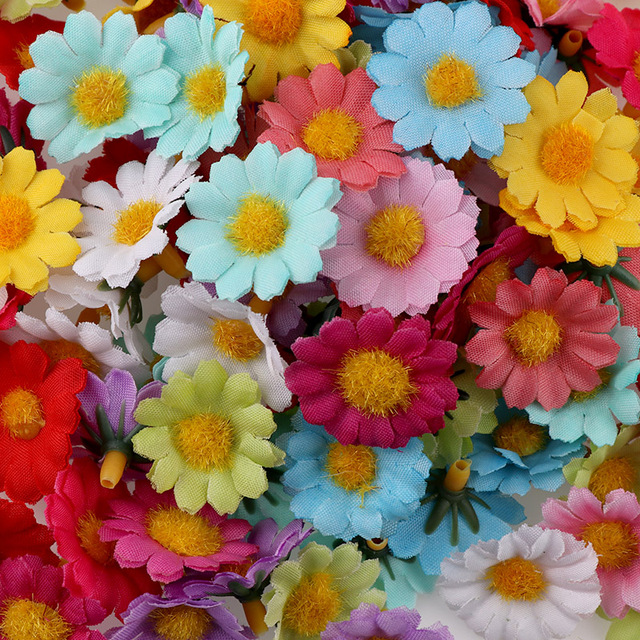 100PC/lot  2.5cm Mini Daisy Decorative Flower Artificial Silk Flowers Party Wedding Decoration Home Decor(without stem) Cheaper 6