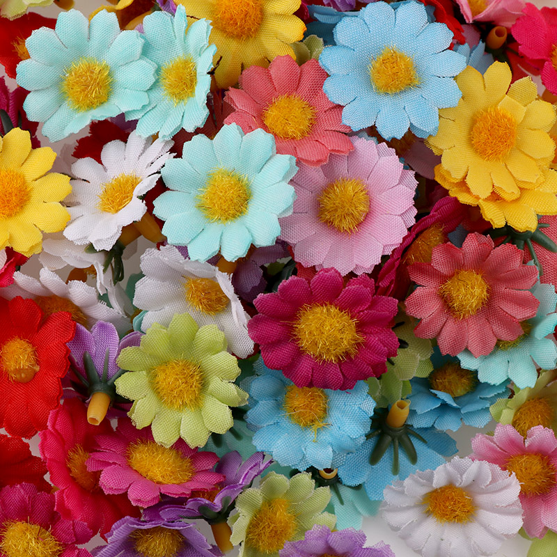 100PC/lot Mini Daisy Decorative Silk Artificial Flower For Party And Wedding Decoration 5