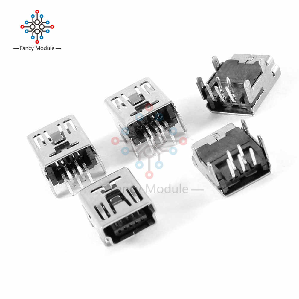 20 قطعة USB صغير نوع B 5-Pin أنثى المقبس الزاوية اليمنى DIP وصلة مرفاع
