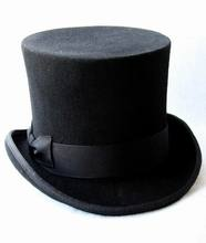 13.5cm(5.3inch) Black Steampunk Hat DIY Mad Hatter Top Hat Victorian Vintage Traditional Wool Fedoras Hat Uncle Sam Beaver Hat