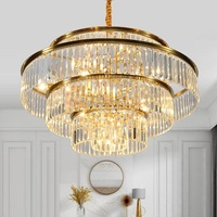 Light luxury crystal chandelier round living room golden chandelier restaurant loft decorative lights
