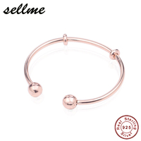 100% 925 Sterling Silver Moments Rose Open Bangle For Women Silver Jewelry Fit Pan DIY Beads Charms Making