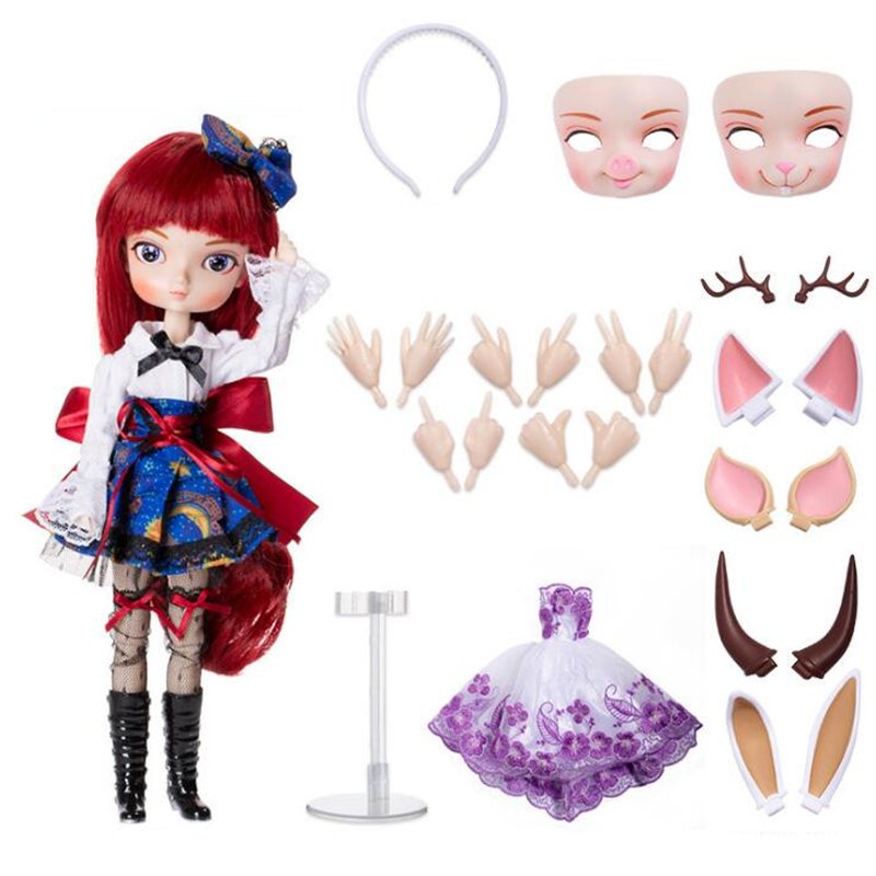 Hot BBGirl BJD Doll 35cm Ball Joint Doll Collection Gift Toy Face Eyes Changeable change face