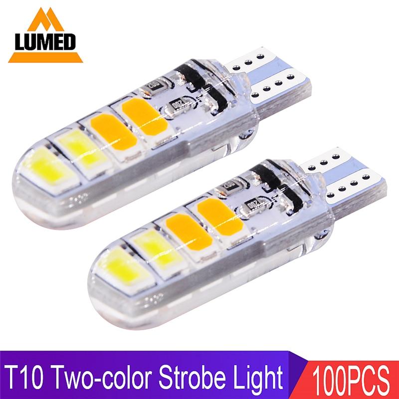 100x T10 LED W5W Car light Bulb 8 LED Para Auto Interior Side light Silica gel