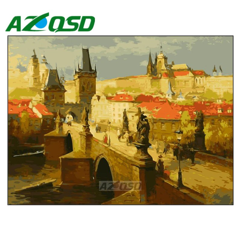 AZQSD Painting By Numbers Frameless 40x50cm Old City Bridge Oil Painting Picture By numbers On Canvas Home Decor szyh189