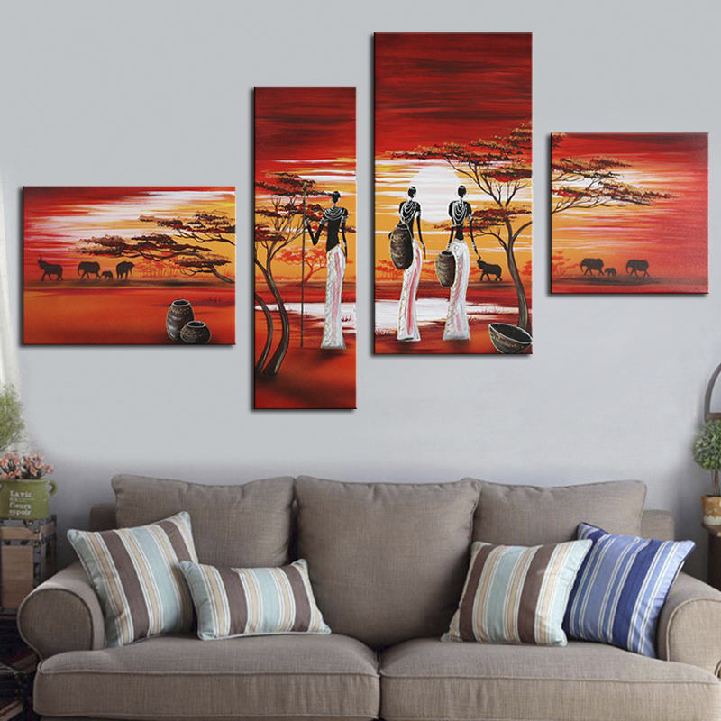 Modern 4 Panel Oil Paintings Group Landscape African Art Acrylic Hand Painted Canvas Picture for Office