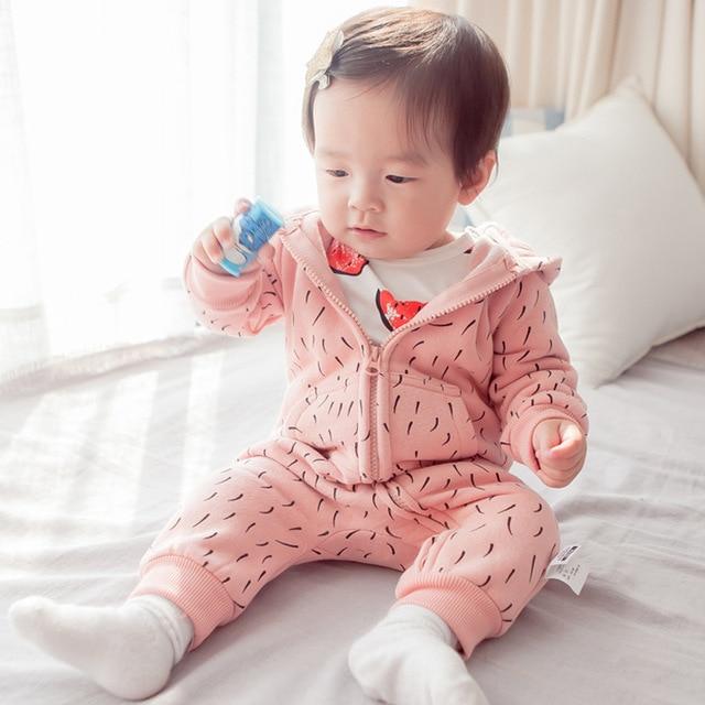 Марка Осенью и зимой густой шерсти lining Ребенка комбинезон Пижамы младенцы Комбинезон Новорожденный хлопка с длинным рукавом комбинезон Высокое качество