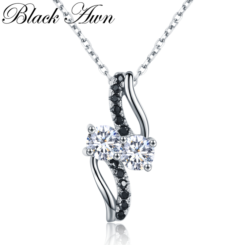 BLACK AWN 2019 New Arrival Classic Real 925 Sterling Silver Fine Jewelry Trendy Engagement Necklaces & Pendants For Women K024