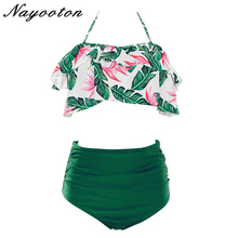 Sexy Sweet women Falbala Bikini Set  swimsuit swimwear high waist push up biquini feminino 2019 bathing suit  plus size S-3XL 2017 women plus size bikini set high quality bathing suit push up biquini super large cup swimwear sexy 4 colors solid swimsuit