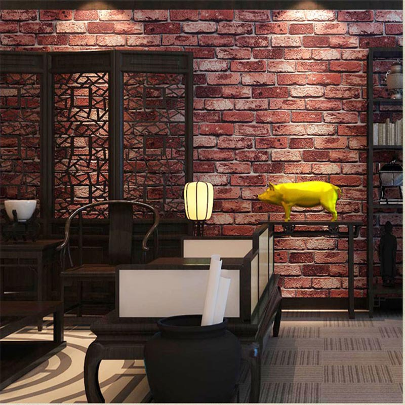 beibehang Factory direct wallpaper pvc thick brick tricks 3d Chinese style retro restaurant hotel works living room background