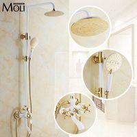 高級ゴールド雨シャワーセット壁マウントゴールデンホワイトペイントバスタブとシャワーの蛇口付きハンドシャワー浴室ミヘ族craner
