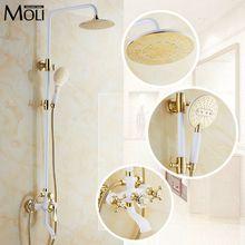 Luxus gold regen dusche set wandhalterung goldenen weiß farbe badewanne und dusche wasserhahn mit handbrause badezimmer mixe craner