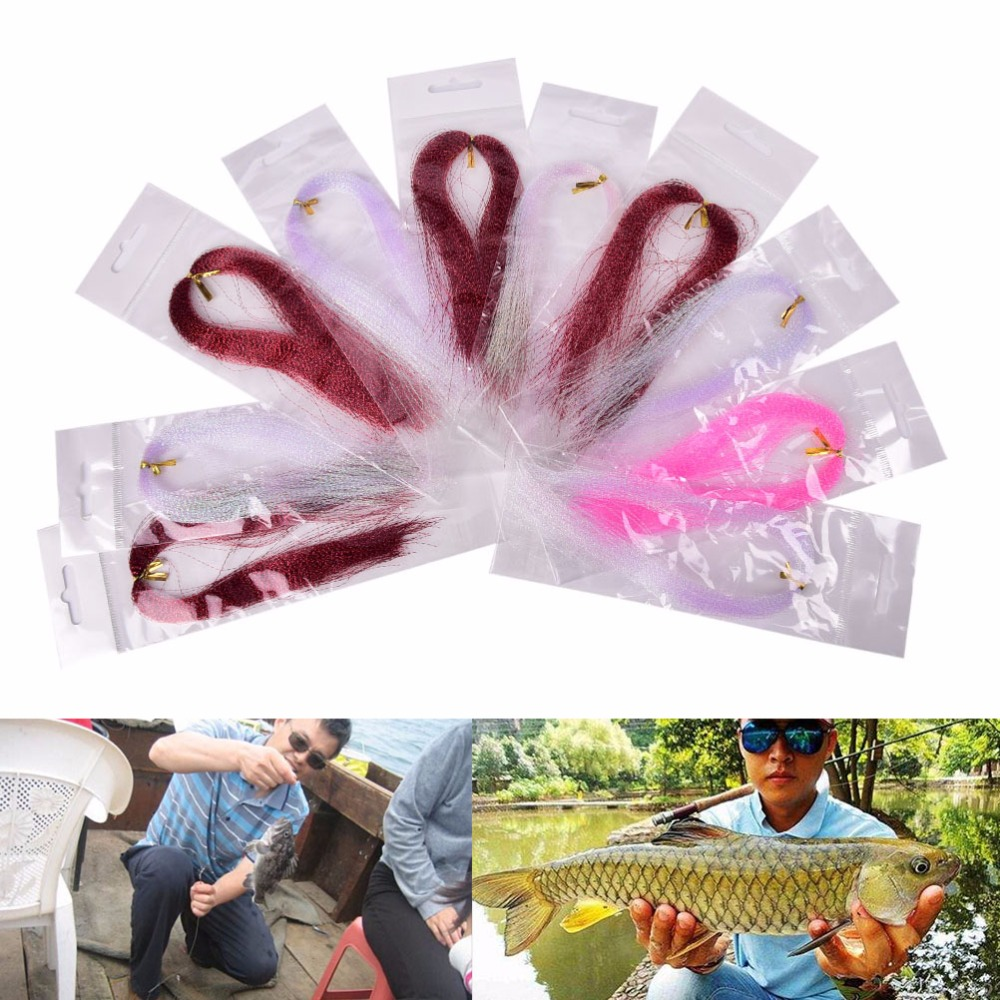 Fly fishing crystal flash fishing line fly fishing tying material thread Mixed Color 10 Bag