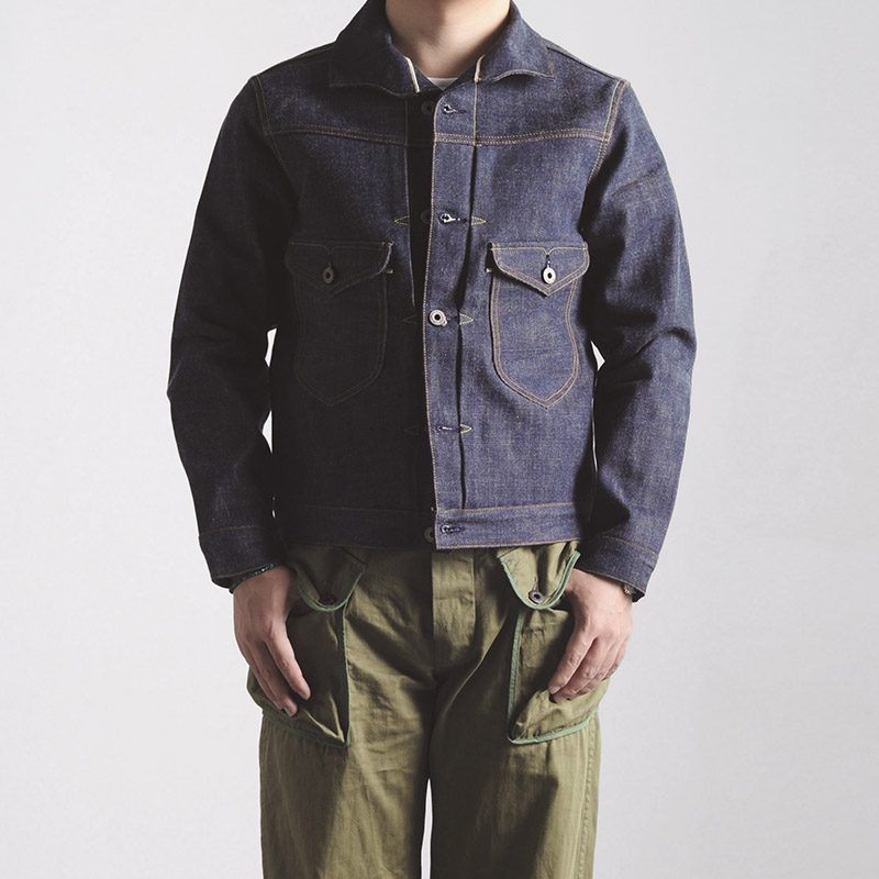 indigo selvage unwashed  vintage hand made top quality super heavy 16oz raw denim jacket-in Jackets from Men's Clothing    1