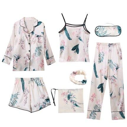 7 PCS Pink Striped Pajamas Silk Satin Femme Pajama Set Stitch lingerie Robe pyjamas Women Sleepwear Pajama Free Shipping 2019