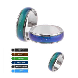 genenic 1PC Stainless Steel Mood Ring Couple Ring Jewelry