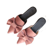2017 NEW Women Sandals Slippers Bowtie Summer Fashion Vacation Sandals Point Toe Flats Suede Sweety Quality