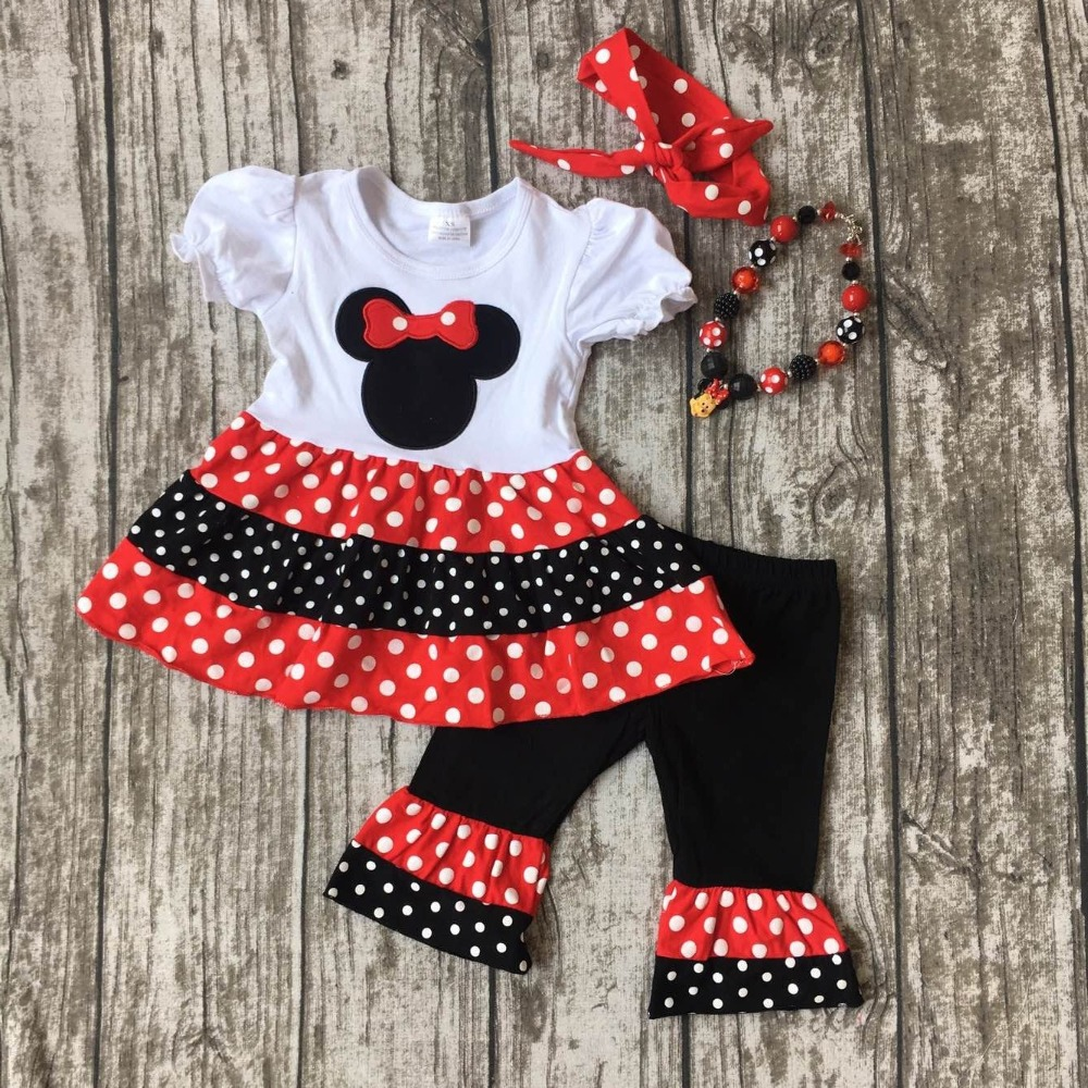 baby girls minnie Capri set children red minnie clothes girls red white polka dot Capri clothing with necklace and headband xmas leopard minnie dots red pettiskirt with christmas minnie print white long sleeve top with minnie dots lacing mamw413