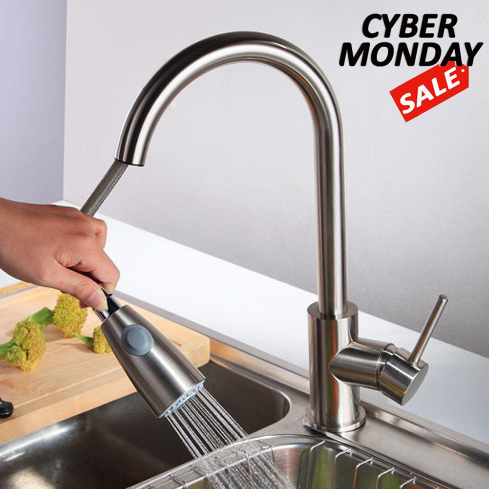 Stainless Steel Sink Handle Brushed Nickel Pull Out Kitchen Faucet Single Hole Durable Home Swivel Sprayer