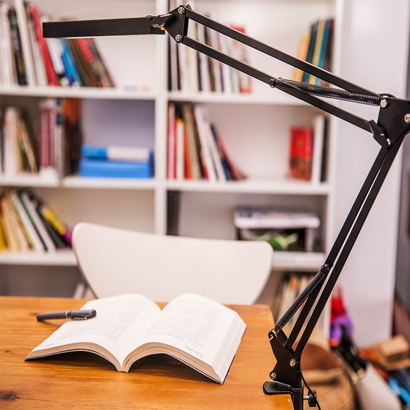 Long Arm Light Clamp Desk Reading LED Lights 3.6W Natural White 4000K Black Table Lamp Touch Control Light for Bedroom Reading