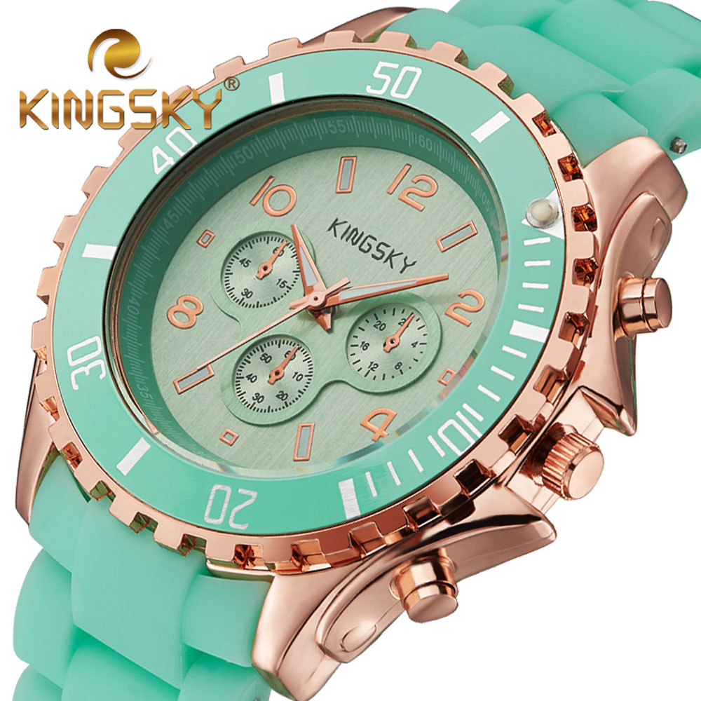 2017 Women Watches Luxury Brand KINGSKY Fashion Dress Lady Band Candy Casual Quartz Silicone Bracelet Watch Relogio Feminino women watches women kingsky top luxury brand quartz watch white simple leather casual fashion watches clock relogio feminino