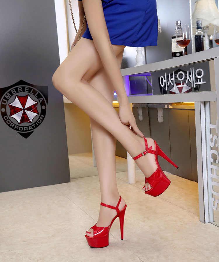 Çelik Boru Dans Kadın Ayakkabı 2019 Yeni 15 cm Yüksek topuklu Seksi Balık Ağzı ile Tayvan Podyum modelleri Gösterisi Araba Gösterisi Kadın Sandalet