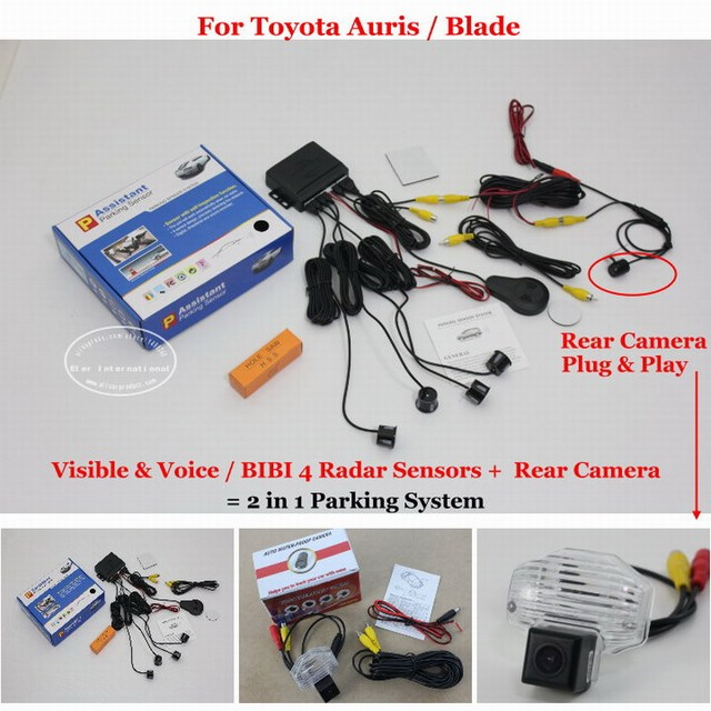 Car Parking Sensors + Rear View Back Up Camera = 2 in 1 Visual / BIBI Alarm Parking System For Toyota Auris / Blade
