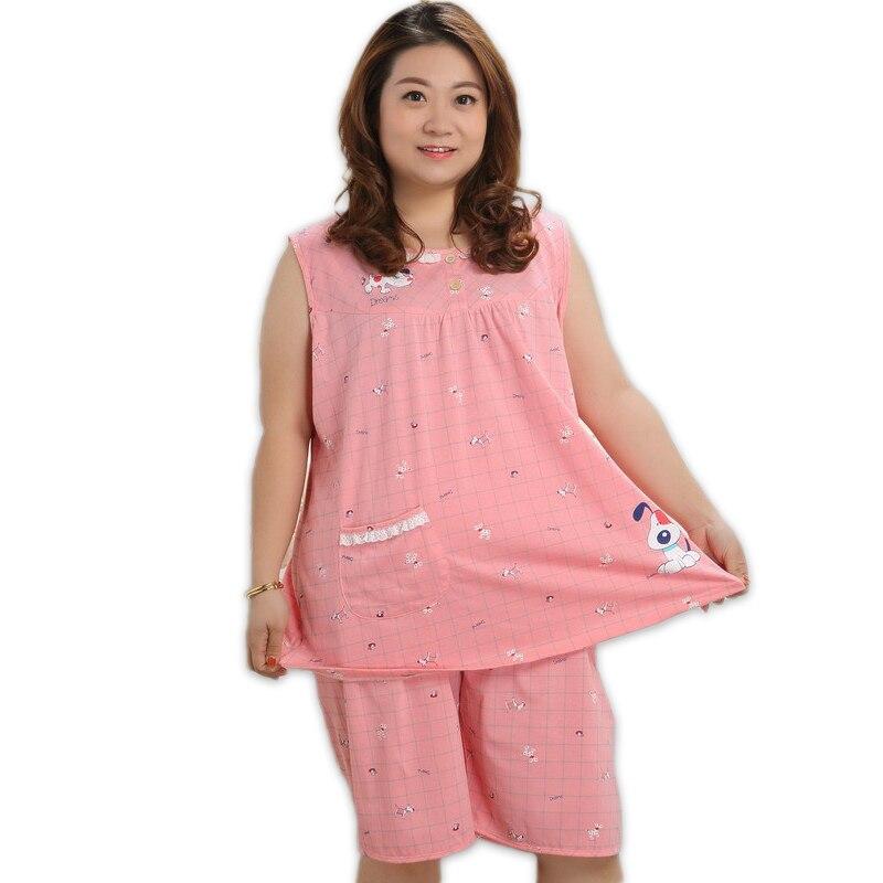 Plus größe 100% baumwolle kurze pyjamas sätze frauen sleeveless XXXXXL 130 KG sommer pijama nachtwäsche niedlichen cartoon rosa frauen pyjamas