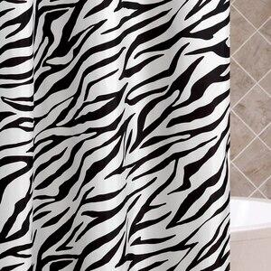Image 2 - Zebra Stripes tkanina poliestrowa kurtyna łazienkowa odporne na pleśń miękka zasłona wanny wodoodporne Skidproof akcesoria łazienkowe