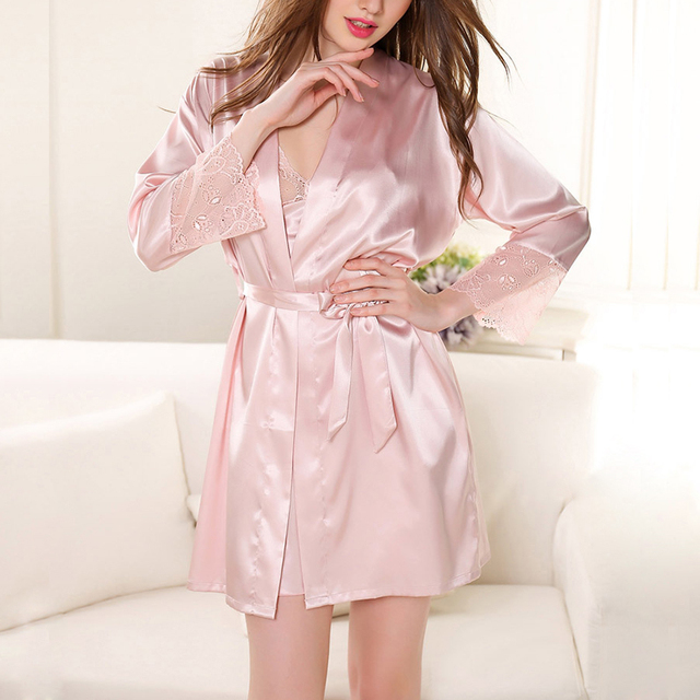 394fb1a6816 Luxury Lace Satin Robe Women Sleepwear Pink Girls Hot Sexy Triangle Cup Camisole  Bralette Pajama Nightdress Bowknot Home Clothes